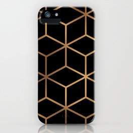 Black and Gold - Geometric Cube Design iPhone Case