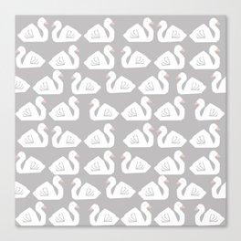 Swan minimal pattern print grey and white bird illustration swans nursery decor Canvas Print