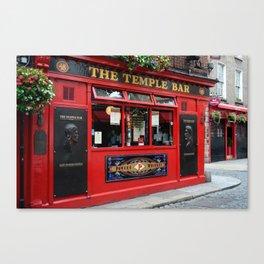 Red Temple Bar pub in Dublin Canvas Print