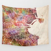 dublin Wall Tapestries featuring Dublin map by MapMapMaps.Watercolors