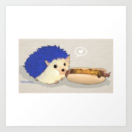Hedgehog vs Chili Dog Art Print