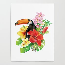 Tropical Toucan Collage Poster