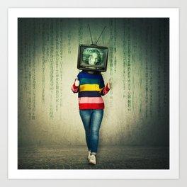 tv instead of head Art Print