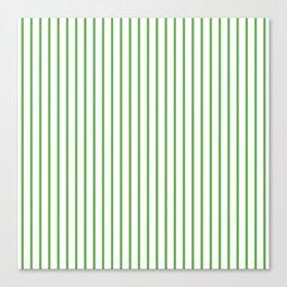 Spring Leaf Green Pinstripe on White Canvas Print