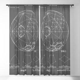 Buckminster Fuller 1961 Geodesic Structures Patent - White on Black Sheer Curtain