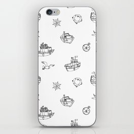 Black and white fishing boats iPhone Skin