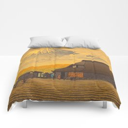 Vintage Japanese Woodblock Print Sepia Japanese Farm Mount Fuji Farmer Comforters