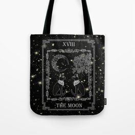 "Tarot ""The Moon"" - silver- cat version Tote Bag"