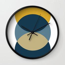 Rise of the Sun - Yellow, Blue, Geometric Art Wall Clock