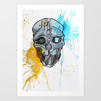 dishonored Art Prints featuring Corvo's Mask - Dishonored - Ink Splatter by Salzburn Designs Shop