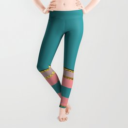 Teal With Pink And Gold Leggings