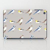 gray pattern iPad Cases featuring Bird Pattern Gray by Tammy Kushnir