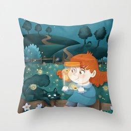 Giadina and the fireflies Throw Pillow