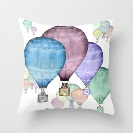 Balloons and animals! Throw Pillow