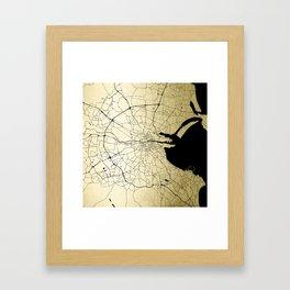 Dublin Ireland Green on White Street Map Framed Art Print