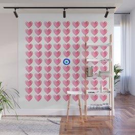 Pink Hearts & Evil Eye Watercolor Wall Mural