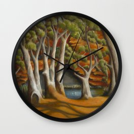 Ghost Gums of Gregory Gorge, original oil painting Wall Clock
