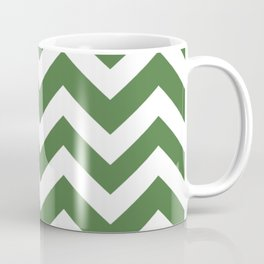 Fern green - green color - Zigzag Chevron Pattern Coffee Mug