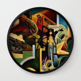 Classical Masterpiece 'Instruments of Power - Train, Airplane, Steam by Thomas Hart Benton Wall Clock