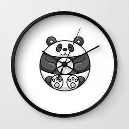 Panda Bear Is A Cute Donut Wall Clock
