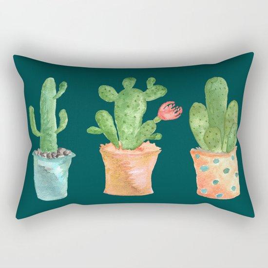 Three Green Cacti On Green Background Rectangular Pillow