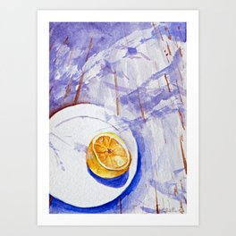 Lemon on a plate - Watercolors Art Print