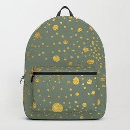 Gold leaf hand drawn dot pattern on fern green Backpack