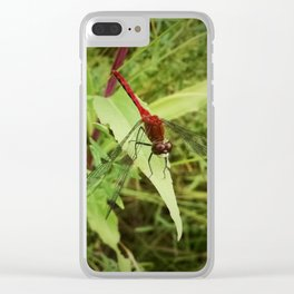 Red Meadowhawk Dragonfly Clear iPhone Case
