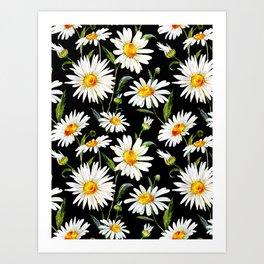 Floral Kingdom Cute White Daisy On Black Background Art Print