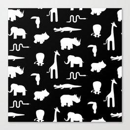 Exotic white animals pattern Canvas Print