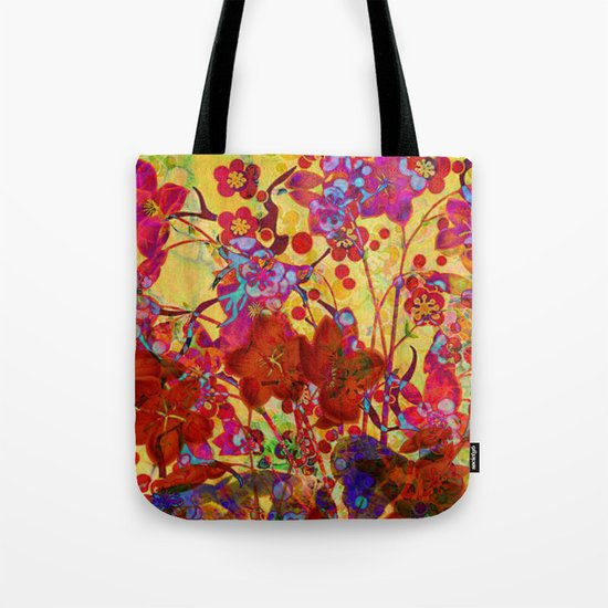 floral on yellow Tote Bag