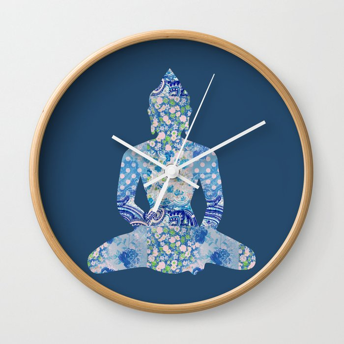 Buddha Vintage Floral Pattern Blue Navy Teal Turquoise Wall Clock by  miaomiaodesign