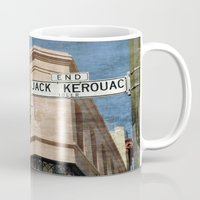 kerouac Mugs featuring Jack Kerouac Alley and Vesuvio Pub by RicardMN Photography