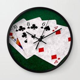 Poker Hand High Card Queen Ten Eight Six Four Wall Clock