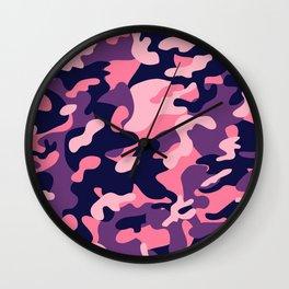 Pink Purple Camouflage Wall Clock