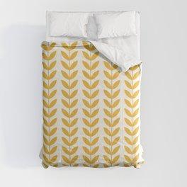 Scandinavian Mid Century Pattern Yellow Comforters