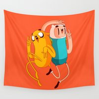 finn Wall Tapestries featuring Finn & Jake by Daniel Mackey