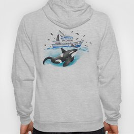 Orca And The Boat Hoody