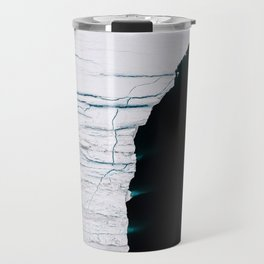 Black and White - Abstract minimal Iceberg aerial view in Greenland - Landscape Photography Travel Mug