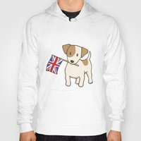 jack russell Hoodies featuring Jack Russell Terrier and Union Jack Illustration by Li Kim Goh