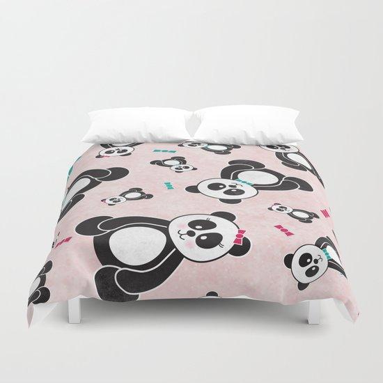 Panda Freefall in Pink Duvet Cover
