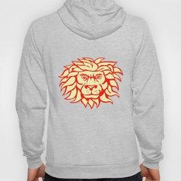 Angry Lion Big Cat Head Retro Hoody