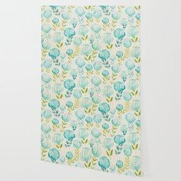 Vintage Aqua Blossoms Wallpaper