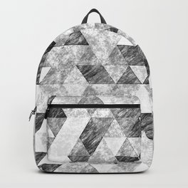 Triangles Grunge Pencil Geometric Black&White Grey Backpack