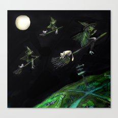 Three Witches on Brooms with the Moon.  Canvas Print