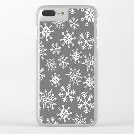 Snowflakes Pattern (Light Gray) Clear iPhone Case