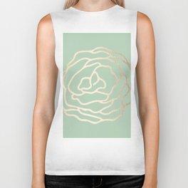 Rose White Gold Sands on Pastel Cactus Green Biker Tank