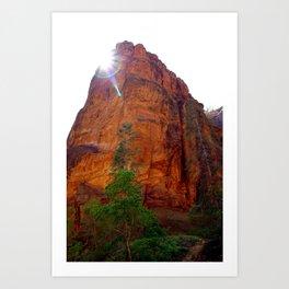 Glowing peak in Zion park Art Print