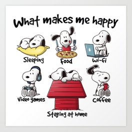 What makes me happy Snoopy Christmas Art Print