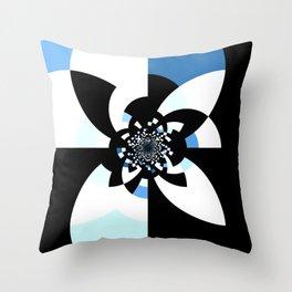 Blue White Black Kaleidoscope Mandala Throw Pillow